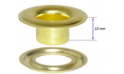 "SPGW #3XL (7/16"") Long Neck  12mm ID:11mm Self-Piercing Grommets & Washers (500 sets) Made of High Quality Brass"