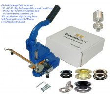 "GF-104 Grommet Hand Press With SPGW #4 (1/2"")ID:15,4 mm )Self Piercing Grommet & Washer 500Pcs & Die & Aligment Tool Set"