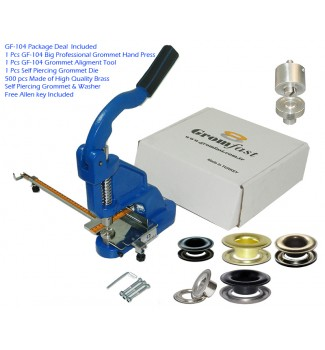 """GF-104 Grommet Hand Press With #3XL Long Neck 12mm (7/16"""") (11mm inside hole)Self Piercing Grommet & Washer 500Pcs & Die & Aligment Tool Set"""