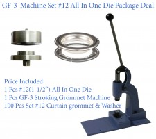 GF-3 Stroking Grommet Machine With #12 All In One Die & #12 Curtain Grommet 100 Pcs Set Nickel(40mm)