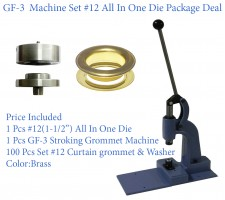 GF-3 Stroking Grommet Machine With #12 All In One Die & #12 Curtain Grommet 100 Pcs Set Brass (40mm)