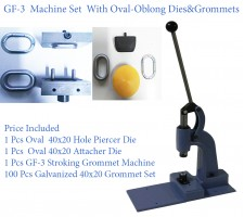 GF-3 Stroking Grommet Machine With Oval Dies & Oval Grommet & Washer Set 100 pcs(40x20)