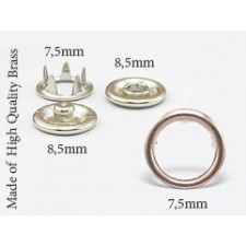 7.5 mm Open Cap  Prong Snaps  100 pcs set Made of High Quality Brass